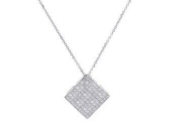 1.75 Carat Invisible Set Princess Diamond Pendant on Cable Link Chain 14K White Gold