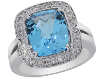 4.71 Carat Blue Topaz with Diamond Ring 14K White Gold