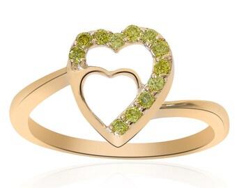 0.15 Carat Round Cut Yellow Diamond Heart Ring 14K Yellow Gold