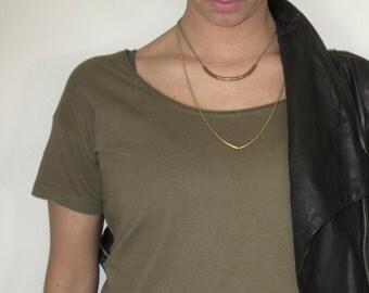 Vintage necklace/chain/brass/bronze/gold plated/black gold plated/chain necklace/double chain