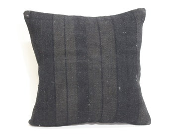 Black Overdyed Kilim Pillow 16x16 Vintage Kilim Pillow Bed Pillow Throw Pillow 16x16 Turkish Kilim Pillow Bed Pillow SP4040 1578