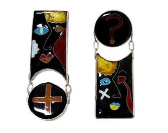 Lisa Hawthorne Articulated Enamel Dangle Earrings