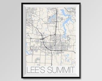 LEE'S SUMMIT Missouri Map, Lee's Summit City Map Print, Lee's Summit Map Poster, Lee's Summit Map Art, Lee's Summit gift Custom Missouri map