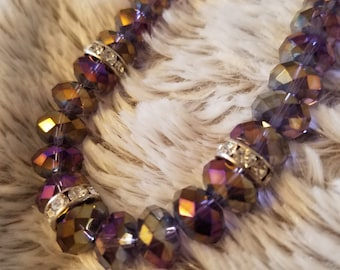 Purple Faceted Glass Beaded Necklace . 20 inches