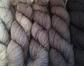 DK Weight Hand-dyed Gradient Yarn Packs in Grey Merino Superwash
