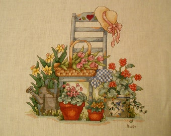 Country Flowers with Chair