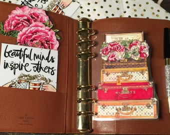Double Sided- hand painted Trunks with Chest & Peonies Page marker laminate- GM, MM, PM