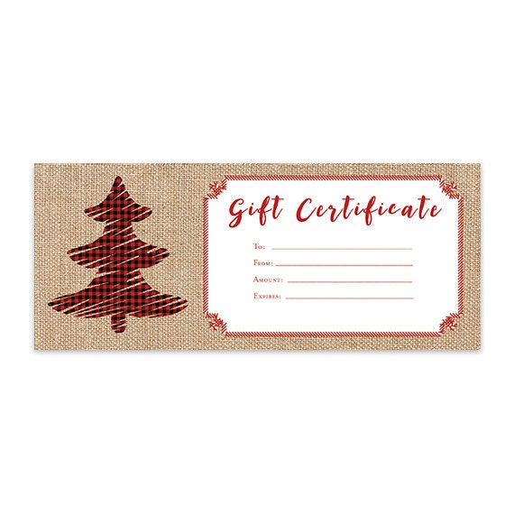 full page gift certificate template - burlap plaid christmas tree gift certificate template