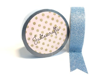 Aquamarine Glitter Washi Tape | Light Blue