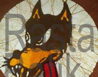 Grateful Dead Jerry Garcia Wolf hand made brown batik.