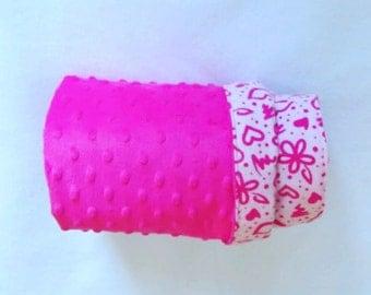 Pink Minky Baby Blanket, Flannelette Blanket,Girl Minky Blanket, Magenta Pink Baby Blanket,Reversible Baby blanket