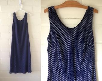 CLEARANCE! Vintage navy blue & white polka dot shift dress