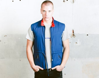 Vintage 80s Gilet Vest . Blue Mens Puffer Jacket Autumn Vest Sleeveless Jacket Autumn Outerwear Boyfriend Gift Mens 90s Fashion. size Medium