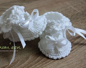 Baby shoes / baby christening shoes Vaneeza with beads in white 0-3 months