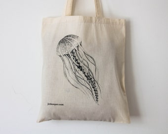 Jellyfish eco-shopping cotton tote bag, jellyfish design zero-waste market bag, ethical jellyfish cotton shoulder handbag, jellyfish bag