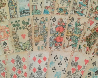 Soviet playing cards Vintage card deck Russian cards deck Souvenir deck Collectible card deck Antique card deck Retro card deck Folk art