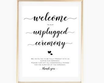 Printable Unplugged Ceremony Sign, Chalkboard Unplugged Wedding Sign, Rustic Wedding Decor, No Phones Sign Wedding