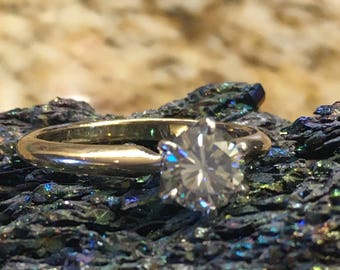 Solid 14 Kt Gold and Platinum, Grey Moissanite ring. 5.87mm/ 0.80Ct Size 5