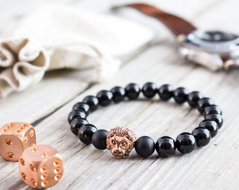 8mm - Black onyx beaded rose gold Lion head stretchy bracelet, made to order yoga bracelet, mens bracelet, womens bracelet