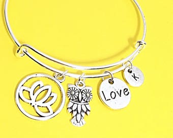 Custom love bracelet, love bangle, love charm, love you jewelry, personalized, customized, initial, charm bracelet, romantic gift for her
