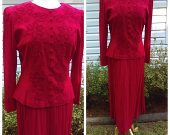 Vintage 1980s Red Maxi Dress with Long  Sleeves Karin Stevens  Size 10