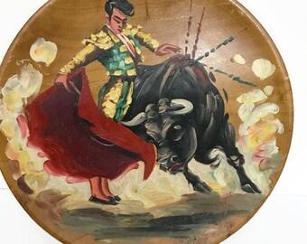 Vintage Flamenco painted on Wooden plate Hand painted Spainard Man Bullfighting Spain Tradition