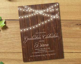 ON SALE -- Class of 2017 Graduation Invitation Card (graduation announcement) - Print at Home or E-card--Rustic--graduation party invitation