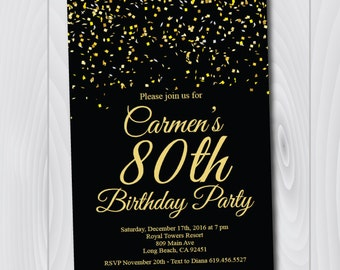 80th Birthday Invitation/Printable Gold & Black Birthday Invitation/e-card invitation/Template/Birthday Invitation/eightieth birthday