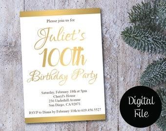 100. Geburtstag Einladung/Printable Gold U0026 Weiß Geburtstag/e Einladungskarte  Einladung/