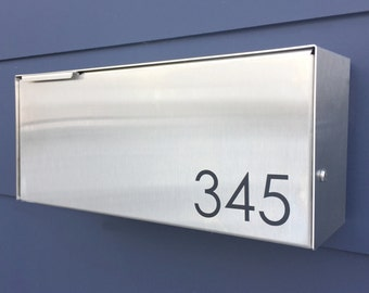Modern mailbox - stainless steel, large, Wall Mounted mailbox, contemporary house - lock #177wb
