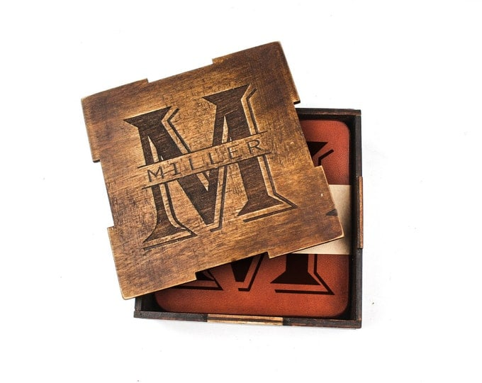 Personalized leather coasters - Custom beer mats - Gift coasters - custom coasters - set of coasters - 4 personalized coasters