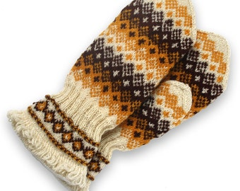 Latvian mittens, wool double mittens, wool mittens, Christmas gift mittens, brown mittens white mittens, winter mittens women mittens size L