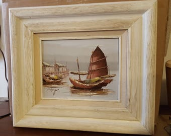 Vintage Peter Wong painting junk boats