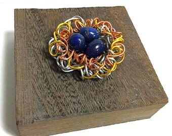Mixed Metals, Decorative  Jewelry Box, Lapis, Gemstone Egg,Sculpture,Wire Art,Gemstone Box,Art,Sculpture Accent,Wire Art,Jewelry box