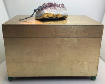 Brushed Gold Amethyst Cluster Decor Box, Valentines Day Gift for Her, Large Amethyst Gemstone Box, Remote Control Caddy, dragonfly, gift