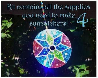 Mothers Day Gift-Kids Craft Kit-Teen and Adult Craft Kit-Four Mandalas Craft Kit-Stained Glass Mandala Kit-Mandala Suncatcher-Family Crafts
