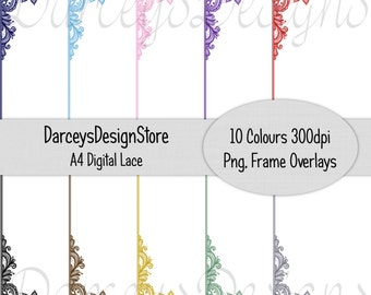 Lace Overlay Frames, A4 Digital files, great for digital crafting, scrapbooking, photography, 300dpi png files, 10 colours