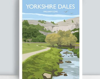 Yorkshire Dales print featuring Malham Cove, North Yorkshire, England. Art Print/Poster. PLUS FREE POSTAGE!