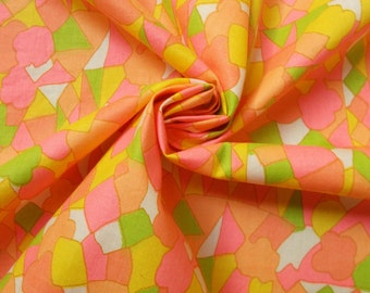 Vintage Cotton Dress Fabric - 1960's/1970's - Bright abstract design - 1 piece - Unused