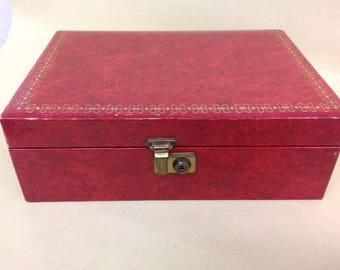 Jewellery Box - Vintage Red With Velvet Effect Interior - 27cm wide x 19cm deep