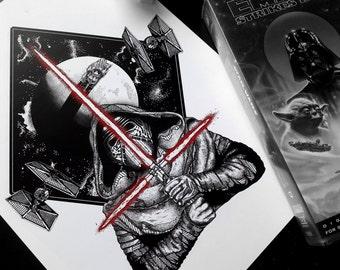AWAKENING - Art Print - Kylo Ren Design Star Wars First Order Illustration - Dotwork Linework - Dark Art - Tattoo - Blackwork