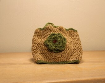Brown and Olive Green Slouchy Cowl Scarf with Flower