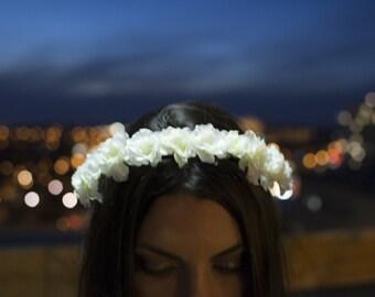 Faux White Flower Crown