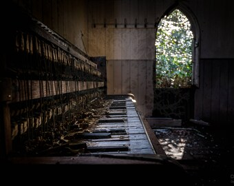 Abandoned Chapel, Church, Beauty, Fine Art Print, Urbex, Urban Exploration Fine Art Photography, Home or Office Piano Organ Decor