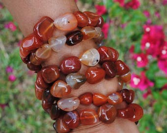 Carnelian Nugget Bracelet Set of Two