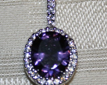 4 CT TW Amethyst & White Topaz Pendant set in Sterling Silver!