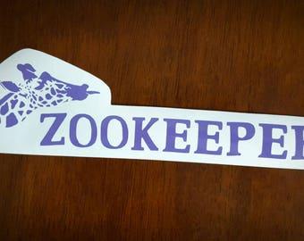 Vinyl Decal - Zookeeper Giraffe