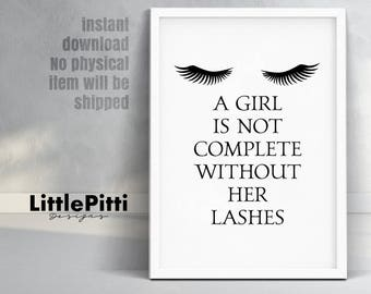 Makeup vanity, eyelash art, eyelash wall decor, beauty salon quote, teen girl room decor, makeup quote, salon lashes decor, digital wall art
