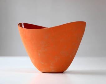 Stoneware Serving Bowl Orange. Ceramic Serving Plate, Soup Bowl, Salad Bowl, Fruit Bowl Orange. Handmade Stoneware Pottery Serving Dish.