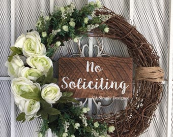No Soliciting Door Sign, No Soliciting Sign, Cedar No Soliciting Sign, Door Sign, No Solicitation, Outdoor Wreath Sign,  Front door sign